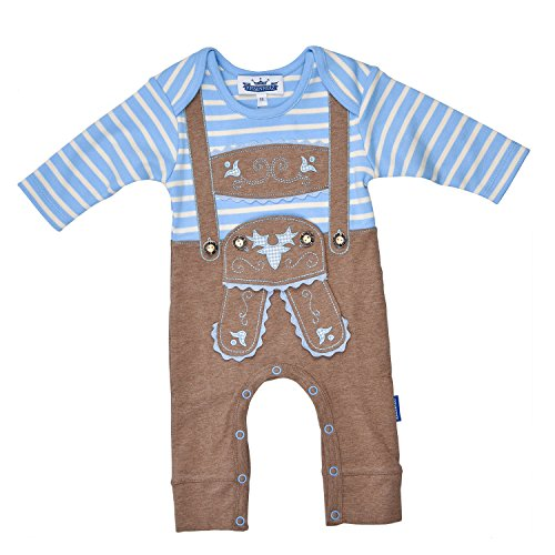 Eisenherz Eisenherz Baby Strampler Langarm Lederhose mit Druckverschluss im Schritt in Größe 56 - fescher Trachtenlook