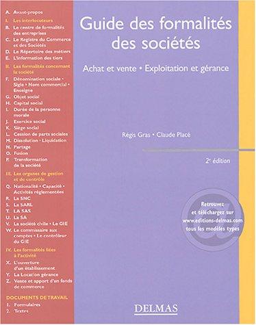 Guide des formalités des sociétés par Régis Gras