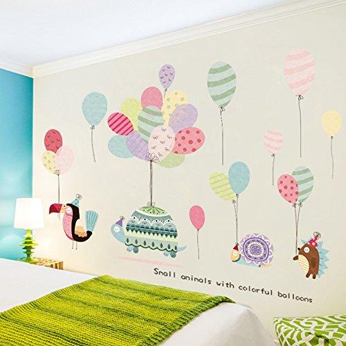 Preisvergleich Produktbild JAYSK Romantische bunte Luftballons Raum selbstklebende Wandaufkleber niedliche Cartoon-Tierkindergarten Klassenzimmer Layout Aufkleber 160cm * 87cm