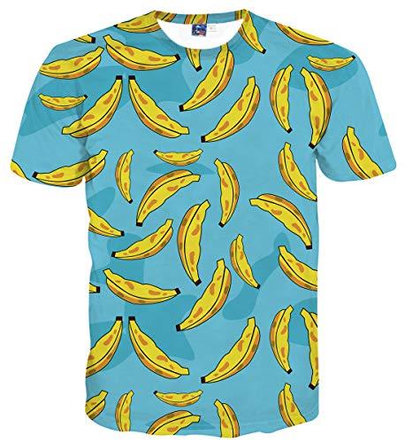 Sykooria Herren T-Shirt Kurzarm 3D Sommer Hipster Grafik Obst Lässig Unisex Dame Männer T-Shirts -