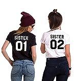 Charmstyle Best Friends Sister T-Shirt mit Aufdruck für Zwei Damen Mädchen Sommer Weiß Schwarz Oberteile Geburtstagsgeschenk 2 Stücke