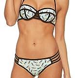 Gigileer Damen Helle Farbe Bademode Neopren Badeanzug Neoprene Push Up Bikini Set (M(DE 34-36), Ananas)