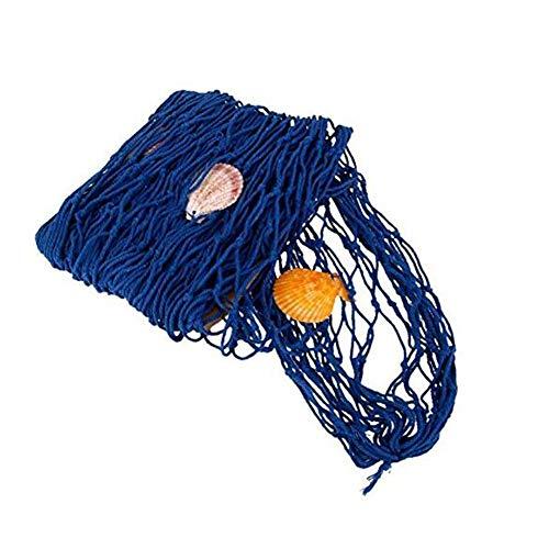 Miji Fischernetz Dekoration mit Muscheln Dekonetz zum Aufhängen Hintergrund Schlafzimmer Wohnzimmer Kinderzimmer Wand Deko 1 m x 2 m, Blau