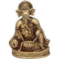 Dio indù Ganesh Statua Seduta E Scrivere Scultura 12.7 cm x 16,51 centimetri x 8,25 centimetri