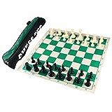Andux Torneo Juego de ajedrez -Enrollar Tablero de ajedrez con 32 Piezas de ajedrez y Tablero de ajedrez Bolso XQTZ-01 (42x42cm)