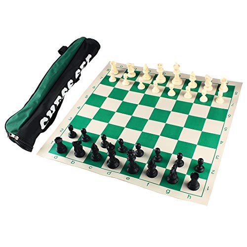 Andux Torneo Juego de ajedrez -Enrollar Tablero de ajedrez con 32 Piezas de ajedrez y Tablero de ajedrez Bolso XQTZ-01 (34x34cm)