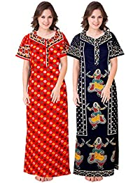 fe580746d133d Silver Organisation Women's Cotton Nightdress Nighty (Multicolour, Free  Size) -Combo Pack of