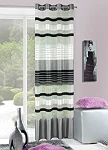 140x245 cm schwarz grau stahl anthrazit graphit Vorhang Vorhänge Fensterdekoration Gardine Ösenschal black grey steel graphite MOLLY