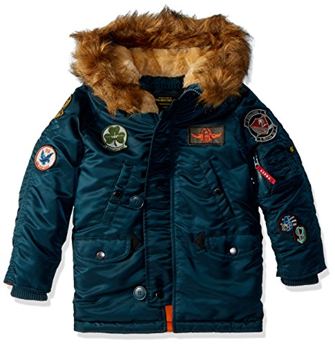 Alpha Industries Big Boys' Maverick Flight Jacket, Navy, Large/14-16 -