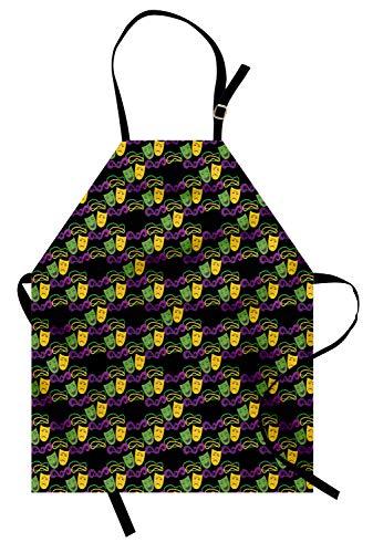 s Kochschürze, Maskerade-Muster mit glücklich und traurig Masken Beads Mardi Gras Theme, Farbfest Höhenverstellbar Waschbar Klarer Digitaldruck, Lila Gelb und Grün ()