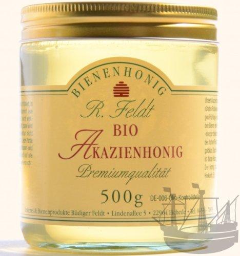 Akazien BIO Honig, lieblich, klar, flüssig, super zum süßen, zum Anrichten von Soßen & Salatsoßen, 500g (Honig Bio-klaren)