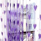 Tongshi Línea linda del corazón de la borla de cadena de la puerta de la cortina de la ventana de la habitación Cortina Valance (Morado)