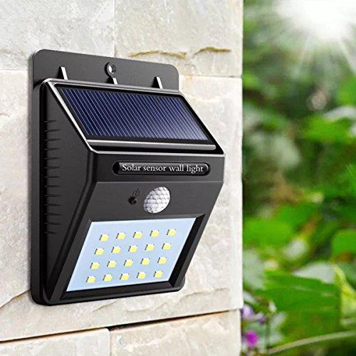 Luce Solare,Lampada Solare,Lampada da Parete Solare 20 LED,Energia Solare 1200mAh,Sensore di Movimento,Resistente all'acqua,Lampadine LED per Parete,Muro,Giardino,Terrazzino,Cortile,Casa