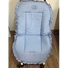 Colchoneta para silla de paseo universal cuadros azules. Funda silla de coche. Mundi Bebé.