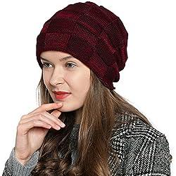 DonDon Mujer Caliente Gorro de Invierno Gorro diseño Flexible Gorro de Punto Moderno con Forro Interior extrasuave - Rojo Oscuro Negro