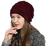DonDon Chaud Bonnet d'hiver Beanie pour Dames Femme Bonnet Moderne tricoté Design Tube avec Doublure Extra-Douce - Rouge foncé Noir