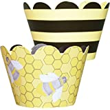 MINI Bumble Bee Theme Cupcake Wrappers, Yellow And Black Baby Shower And Birthday Party Supplies, Confetti Couture...