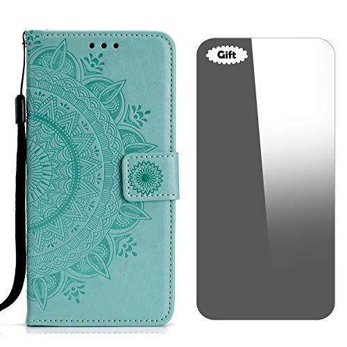 LG G4 Hülle, Conber Lederhülle Handyhülle + [Frei Schutzfolie], Totem Stoßsichere Kartenfach PU Tasche Leder Flip Case Cover Schutzhülle für LG G4 - Minzgrün