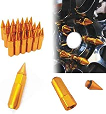 Autotrends 20pcs M12x1.5 Gold Car Spiked Lug Wheel Nuts Extended Tuner