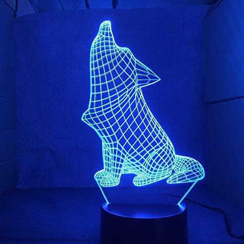 Brüllender Hund führte Nachtlampe 7 Farben, die Acryltischlampe USB-Noten-Knopf-Art- und Weisehauswohnzimmer-Beleuchtungs-Dekor ändern -
