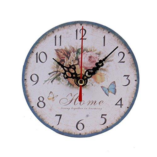 zolimx Estilo Vintage Sin Hacer Tictac Reloj de Pared de Madera Antigua Silenciosa para Oficina de Cocina Casera (A)
