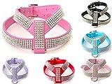 Gorgeous Strass Diamante Dog Pet Puppy Harness für xsmall & kleine Hunde aus kommt mit kostenlosen besonderen Hund oder Knochen Charme (Large fits chest 37-45cm, Leuchtend rosa)