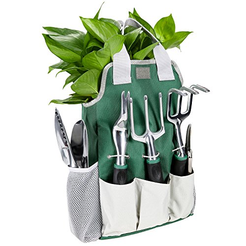 Gartenwerkzeug Sets 9 in 1 aus Hochwertigem Polyester und Aluminium Robust und Rostfrei für Hobby- und Profigärtner mit Tasche (Grün)
