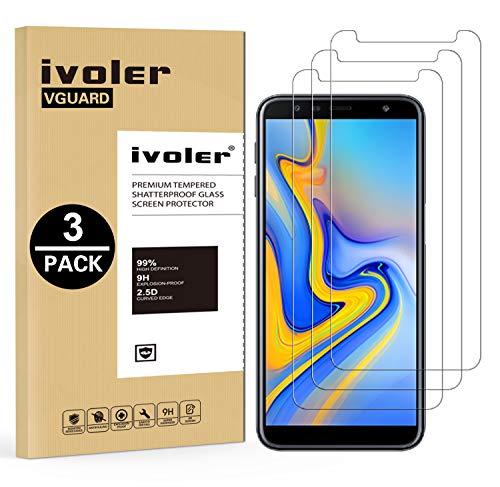 iVoler [3 Stücke] Panzerglas Schutzfolie für Samsung Galaxy J6 Plus 2018 / J4 Plus 2018 / A7 2018, 9H Härte, Anti- Kratzer, Bläschenfrei, [2.5D R&e Kante]