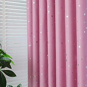 2er-Set Sterne Vorhänge für Kinder Kinderzimmer (175*140, Blaue Sterne)