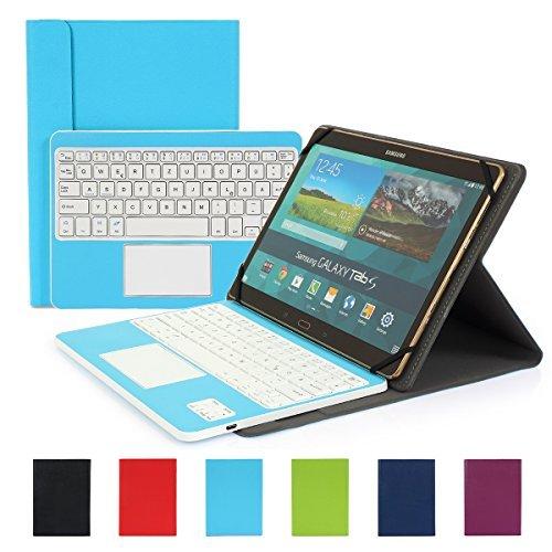 Besmall Wireless Touch Bluetooth Drahtlose Tastatur mit QWERTZ Tastaturlayout für Android Windows Tablet Smartphone(Mit PU-Hülle,Blau)