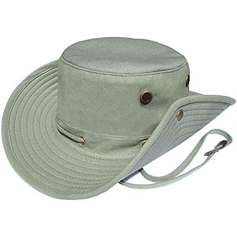 Mens Aussie Wide Brimmed Bush Sombrero en Oliva piedra beige