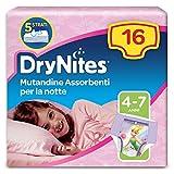 DryNites Huggies Mutandine Assorbenti per la Notte, 17-30 kg, 1 Pacco da 16 Pezzi