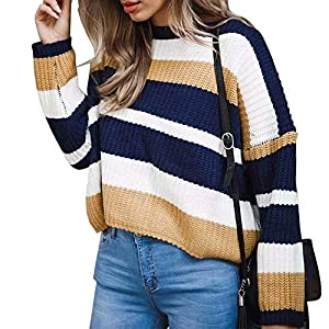 Hmeng Frauen Langarm Rundhalsausschnitt Pullover Stitching Farbe lose Gestrickte Pullover
