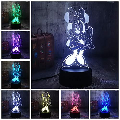 Neue Nette Essen Eis Minnie Maus 3D LED Nachtlicht 7 Farbe Party Wohnkultur Tischlampe Schöne Kind Mädchen Weihnachtsgeschenk