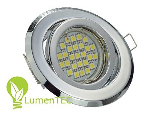 Einbaustrahler, SET: LED und Halogen Einbauspot Spot Rund Metall Chrom Schwenkwinkel ca. 35° + MR16 4 WATT 12V LED LAMPE KALTWEISS + MR16 Fassung -
