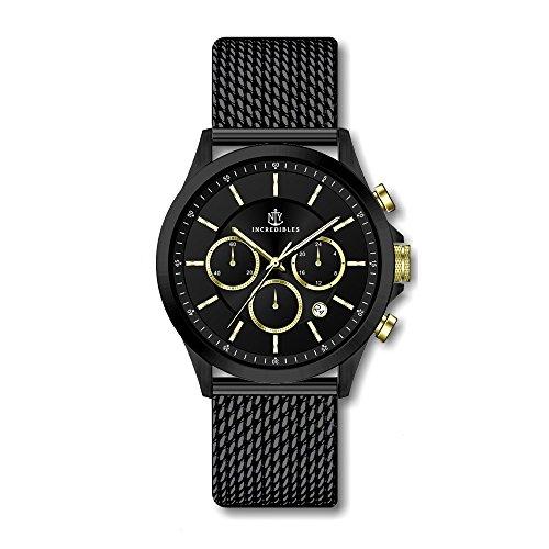 Uhr Soho - Chronograph 42 mm schwarze gold Edelstahluhr für Herren