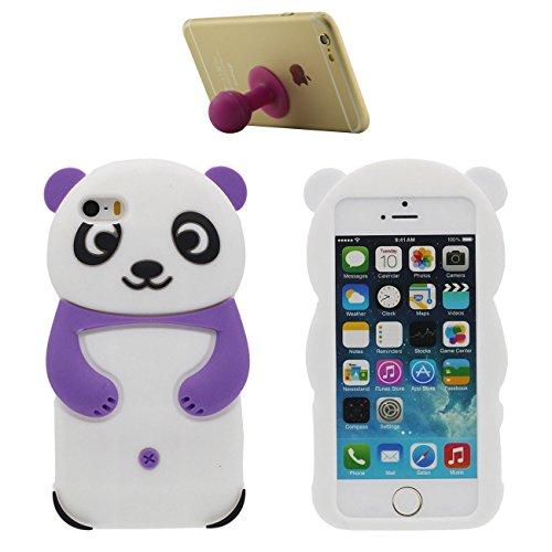 Pour iPhone SE 3D Charmant Animal Panda Forme Mode Silicone Doux Coque Case Etui de Protection pour Apple iPhone 5 5S SE 5G avec 1 Silicone Titulaire violet