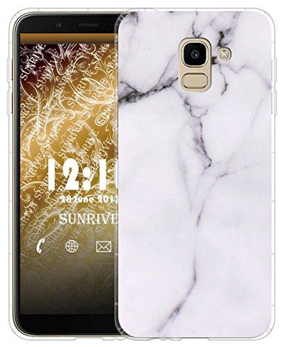 Sunrive Für Samsung Galaxy J6 (2018) Hülle Silikon, Transparent Handyhülle Luftkissen Schutzhülle Etui Case für Samsung Galaxy J6 (2018)(TPU Marmor Weißer)+Gratis Universal Eingabestift
