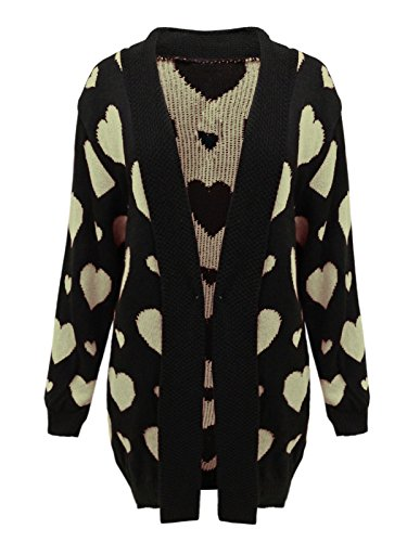 Islander Fashions Womens Hearts Imprimer tricot� cardigan ouvert dames manches longues chemise d'hiver Top EU 44-54 Black with Stone Hearts