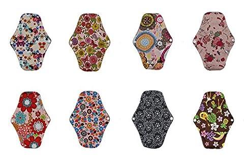 Pads 8, comfortablebaby wiederverwendbar Menstruationstasse Charocal Bambus Damenbinden, waschbar saugfähig Regular Mama Reinigungstuch für Frauen