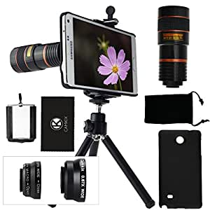 CamKix Camera Lens Kit for Samsung Galaxy Note 4 including 8x Telephoto Lens / Fisheye Lens / 2 in 1 Macro and Wide Angle Lens / Tripod / Phone Holder / Hard Case / Velvet Bag / Cleaning Cloth