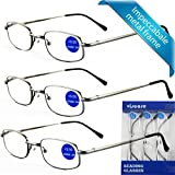 IMPECCABLE METAL frame and crystal clear vision - Viscare 3-Pack Men Women Metal Spring Hinged Full Frame Reading Glasses Readers w/3 pouches 1 Cloth +2.00 200