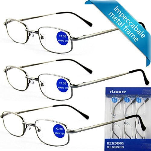 Viscare 3 Stück Damen Herren Männer Frauen Lesebrillen Metall Augenoptik Brille Lesehilfe Sehhilfe Arbeitsplatzbrille +1.50