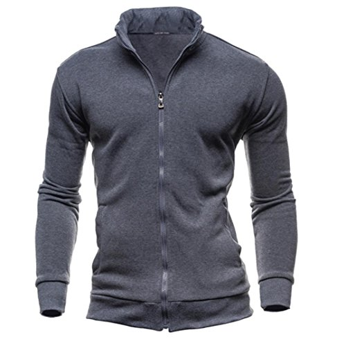 Herren Mantel Sonnena Winterjacke Lange Ärmel Sweatshirt Slim fit Sweatjacke Wintermantel Tradition Stil Warm Pullover T-Shirt Reißverschluss Outwear Stehkragen Parka (Asian L, Dunkelgrau) (Raglan-Ärmel Kurze)