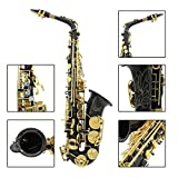 ammoon Lade Engraved Brass Eb E-Flat Alto Saxophone with Abalone Shell Buttons Wind Instrument with Case with Cleaning Cloth Gloves Oil Belt Brush black