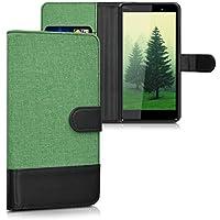 kwmobile Funda para Wiko Fever 4G - Wallet Case plegable de cuero sintético - Cover con tapa tarjetero y soporte en menta negro