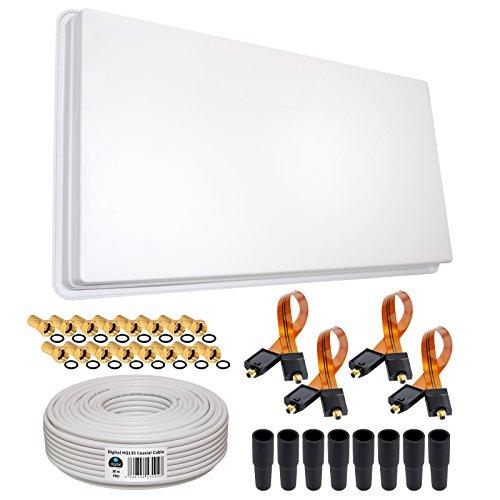 Generator-stahl-gehäuse (HB-DIGITAL SET: Skymaster Hochleistungs-Sat-Flachantenne ✨ QFA 60-QUAD 4 Teilnehmer Direkt ➕ Fensterhalterung ➕ 30m HQ-135 SAT-Kabel ➕ 4x SAT Fensterdurchführung GOLD ➕ 16x F-Stecker vergoldet ➕ 8x Gummitüllen ■ FULL HD TV 3D 4K ■)