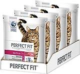 Bild: Perfect Fit KatzenTrockenfutter Adult 1 für erwachsene Katzen Active Reich an Rind 4 Beutel 4 x 14 kg