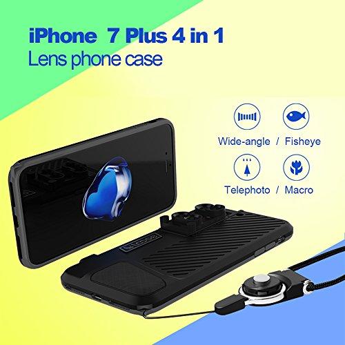 Kewalker iPhone 7Plus obiettivo della fotocamera del telefono, fotografia professionale 4in 1clip-on Phone Lens kit fisheye 180° + 120° grandangolo + 10x macro 20x Marco + 2x tel