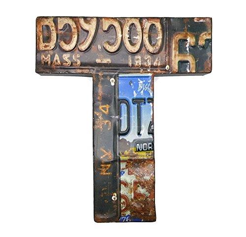 66retro 33cm aus Metall Buchstaben T mit Nummernschild Muster und geprägtem Vintage Wand Dekoration (Halloween Dekorationen Uk Zombie)